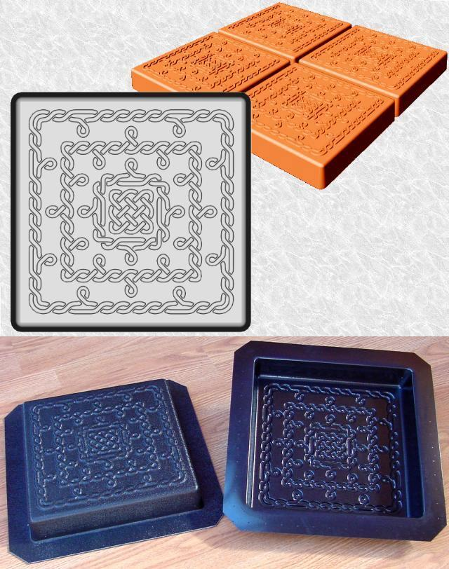 Square Fine Celtic Knots Stepping Stone Mold—Design and ABS views