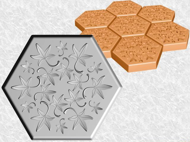 Hexagon Stepping Stone Mold—Fall Leaves