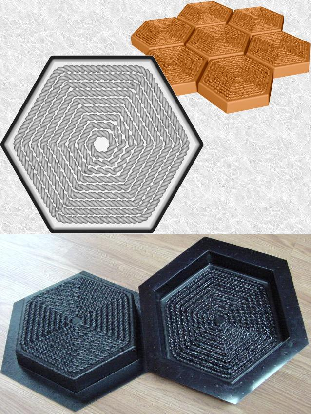 Hexagon Rope Stepping Stone Mold—Design and ABS views