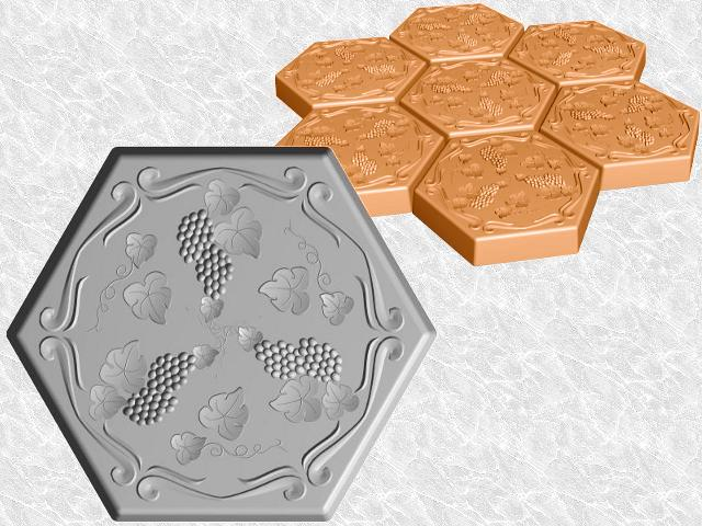 Hexagon Stepping Stone Mold—Grapevine