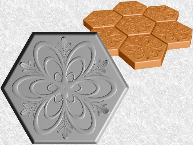 Hexagon Stepping Stone Mold—Floral Spiral