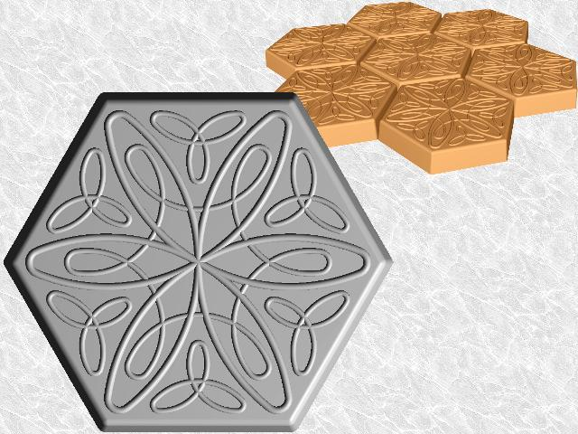 Hexagon Stepping Stone Mold—Relaxed Spiral