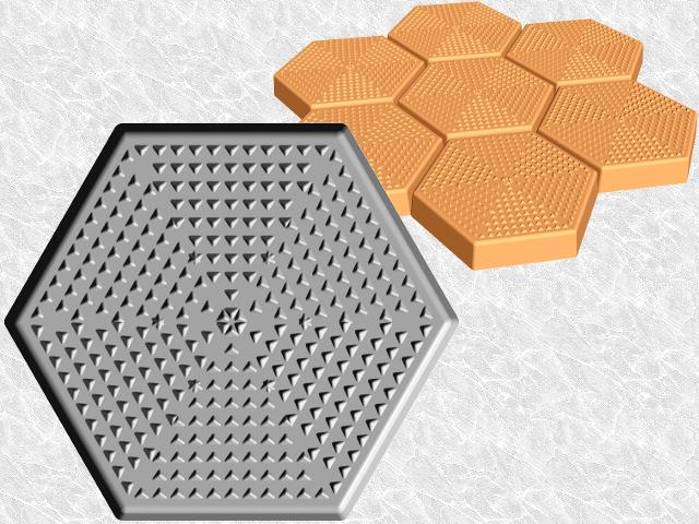 Hexagon Stepping Stone Mold—Pyramids