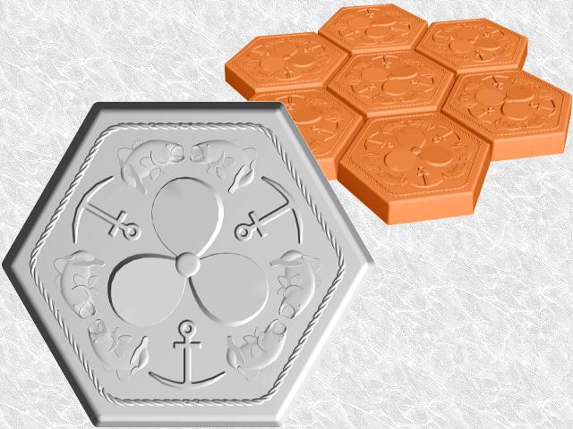 Hexagon Bass Anchors Propeller Stepping Stone—Design view