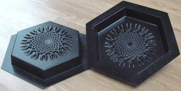 Stepping Stone Molds 005 - Hexagon - Dense Spiral