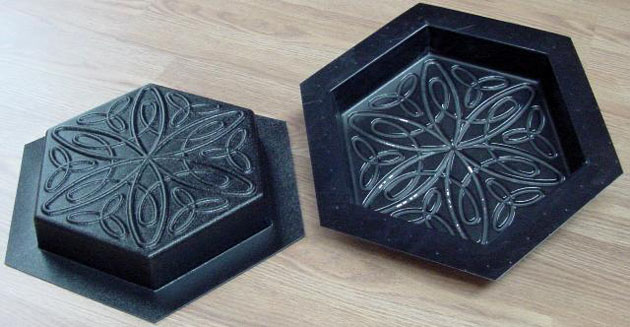Stepping Stone Molds 007 - Hexagon - Relaxed Spiral