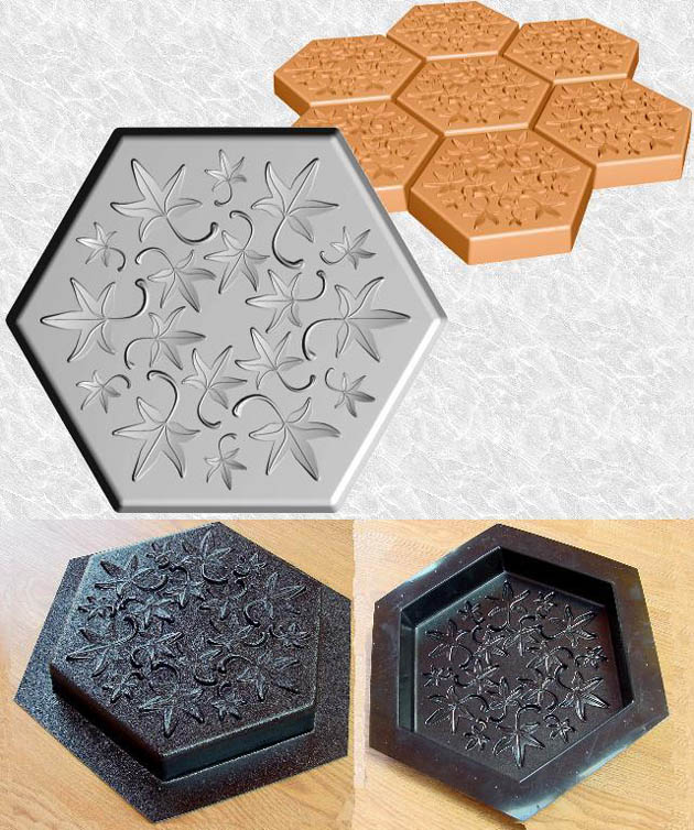 Stepping Stone Molds 010 - Hexagon - Fall Leaves