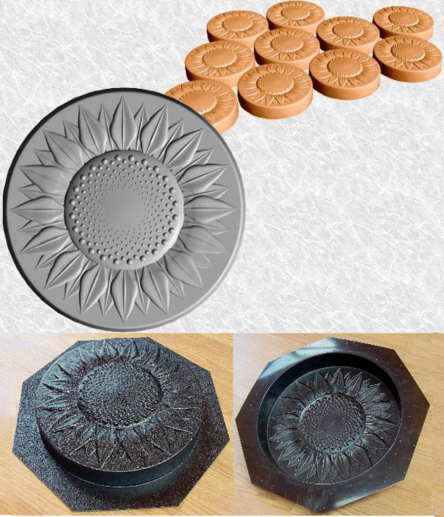 Stepping Stone Molds 013 - Round - Sunflower
