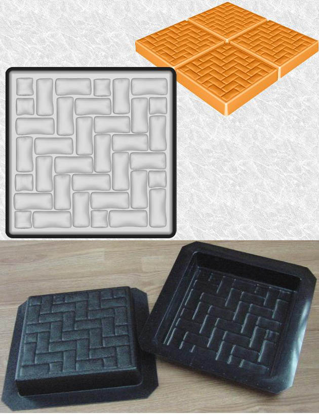 Stepping Stone Molds 017 - Square - Small Bricks